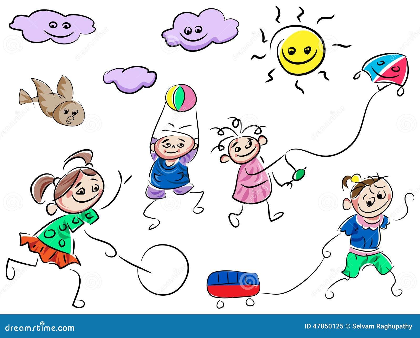 Crianças Que Jogam O Futebol Nos Desenhos Animados Do: Jogando Desenhos Animados Das Crianças Ilustração Do
