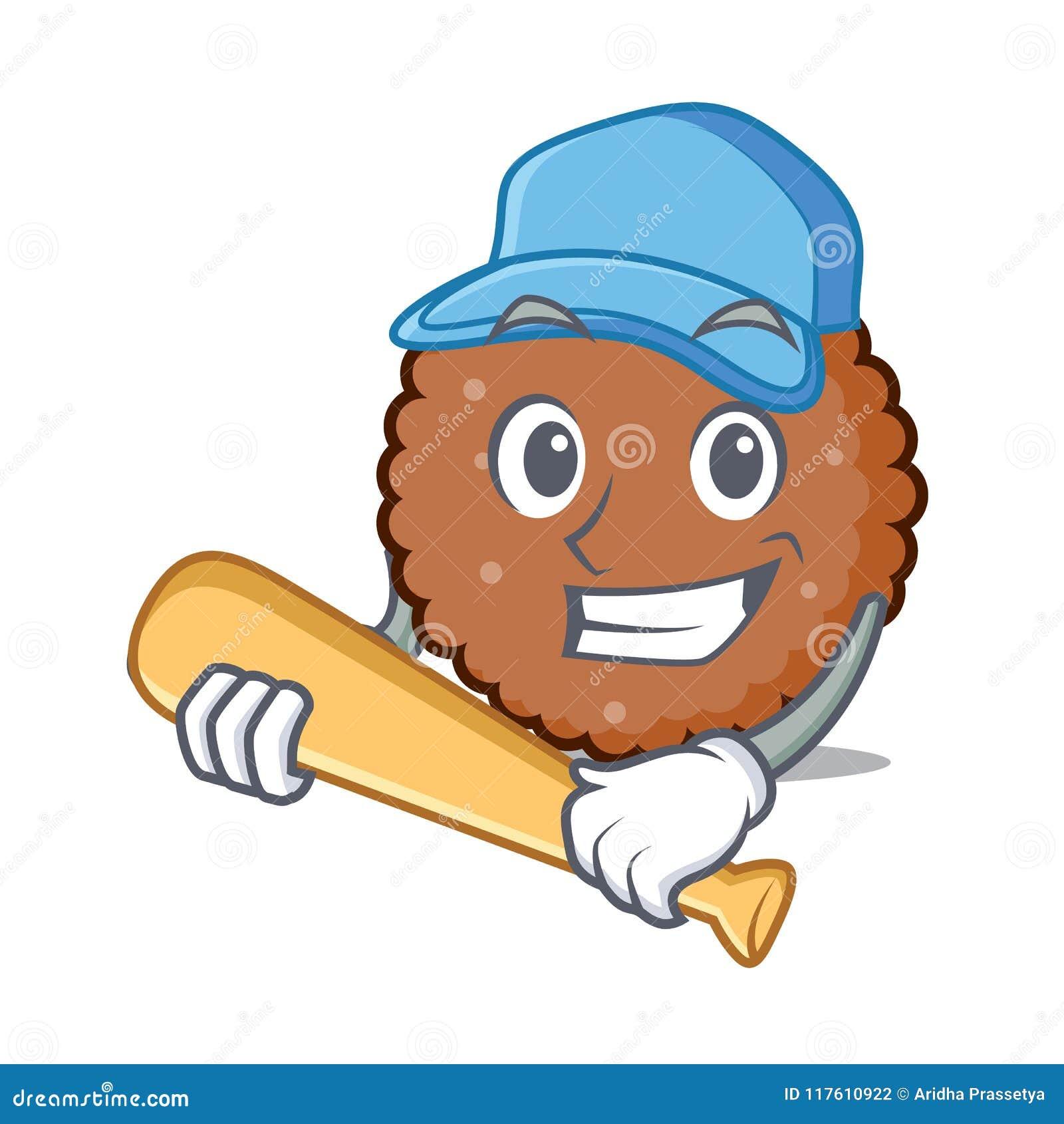 Jogando desenhos animados do caráter do biscoito do chocolate do basebol