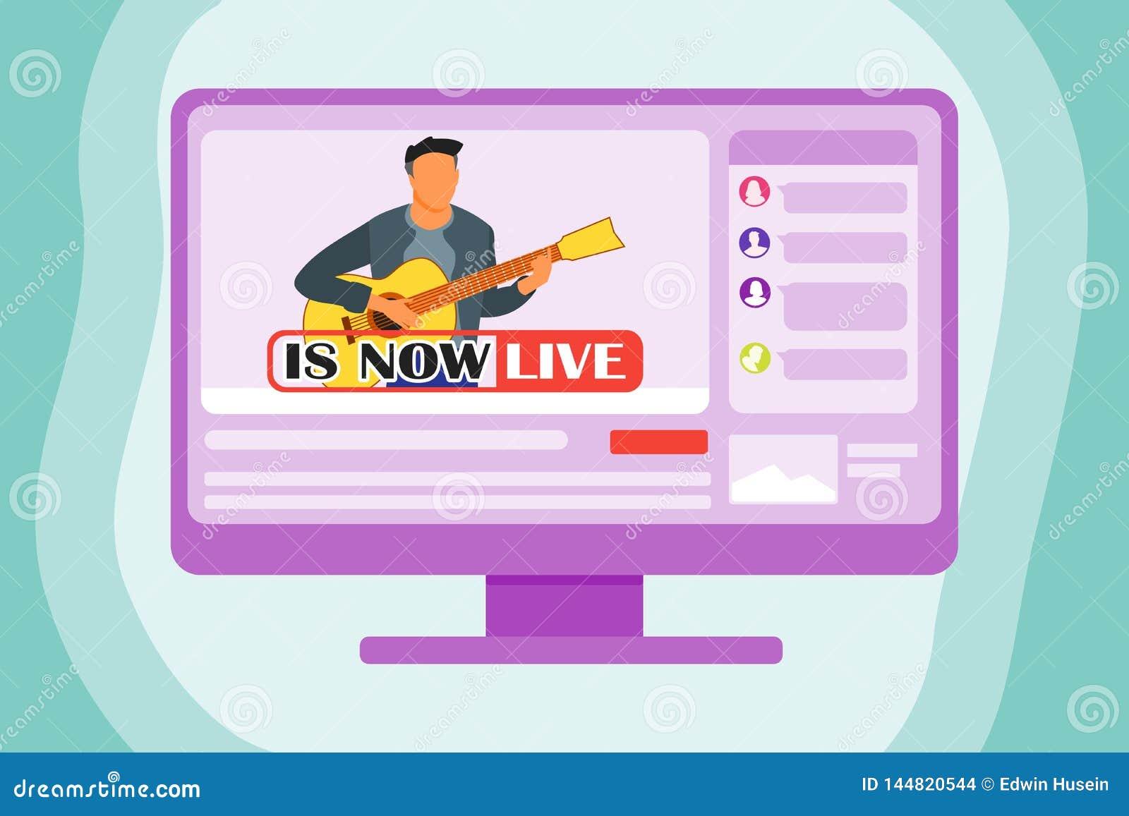 Jogando a guitarra Live On The Internet