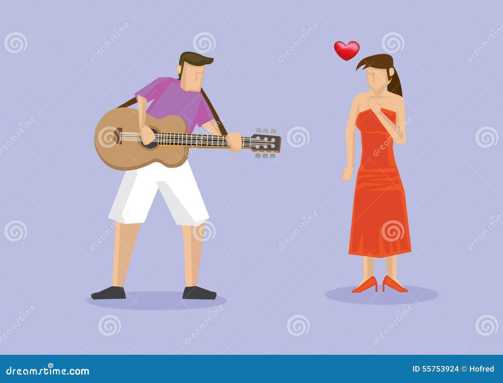 Jogando a música na guitarra à amiga