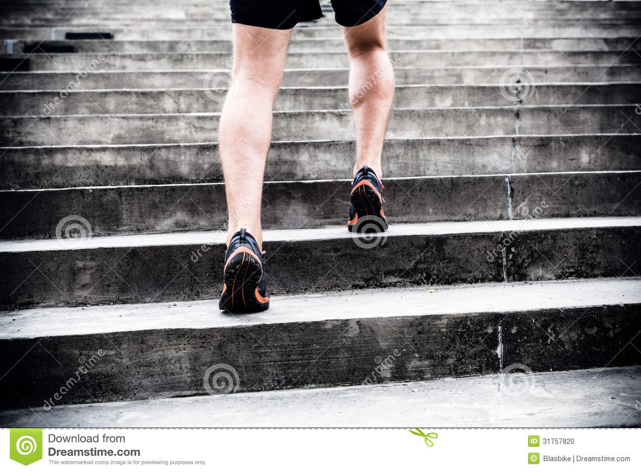 Jogger running stairs sports training man runner city sport young male