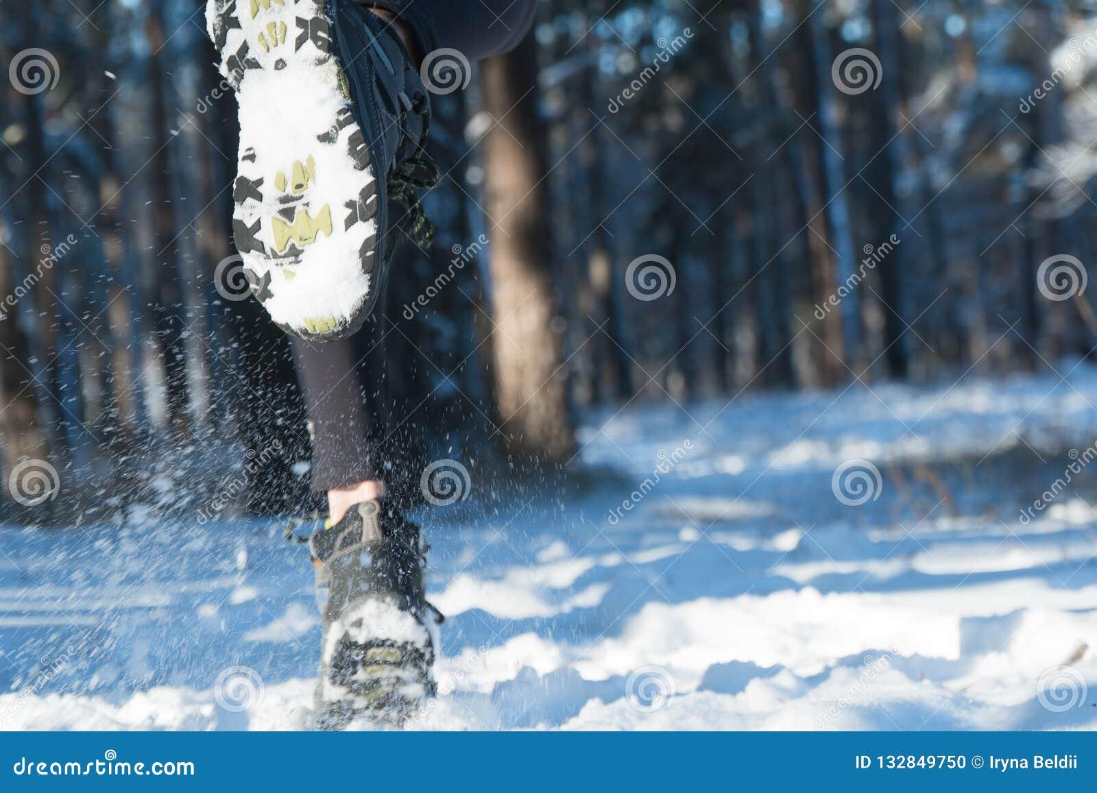 Jogging в зиме Бежать через снег снег леса бега