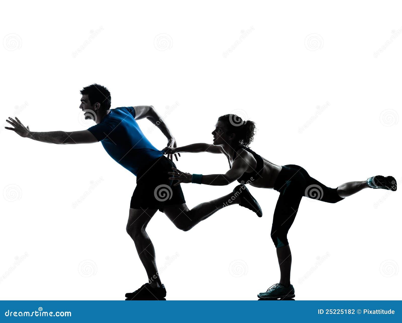 Jogging женщина бегунка человека sprinting