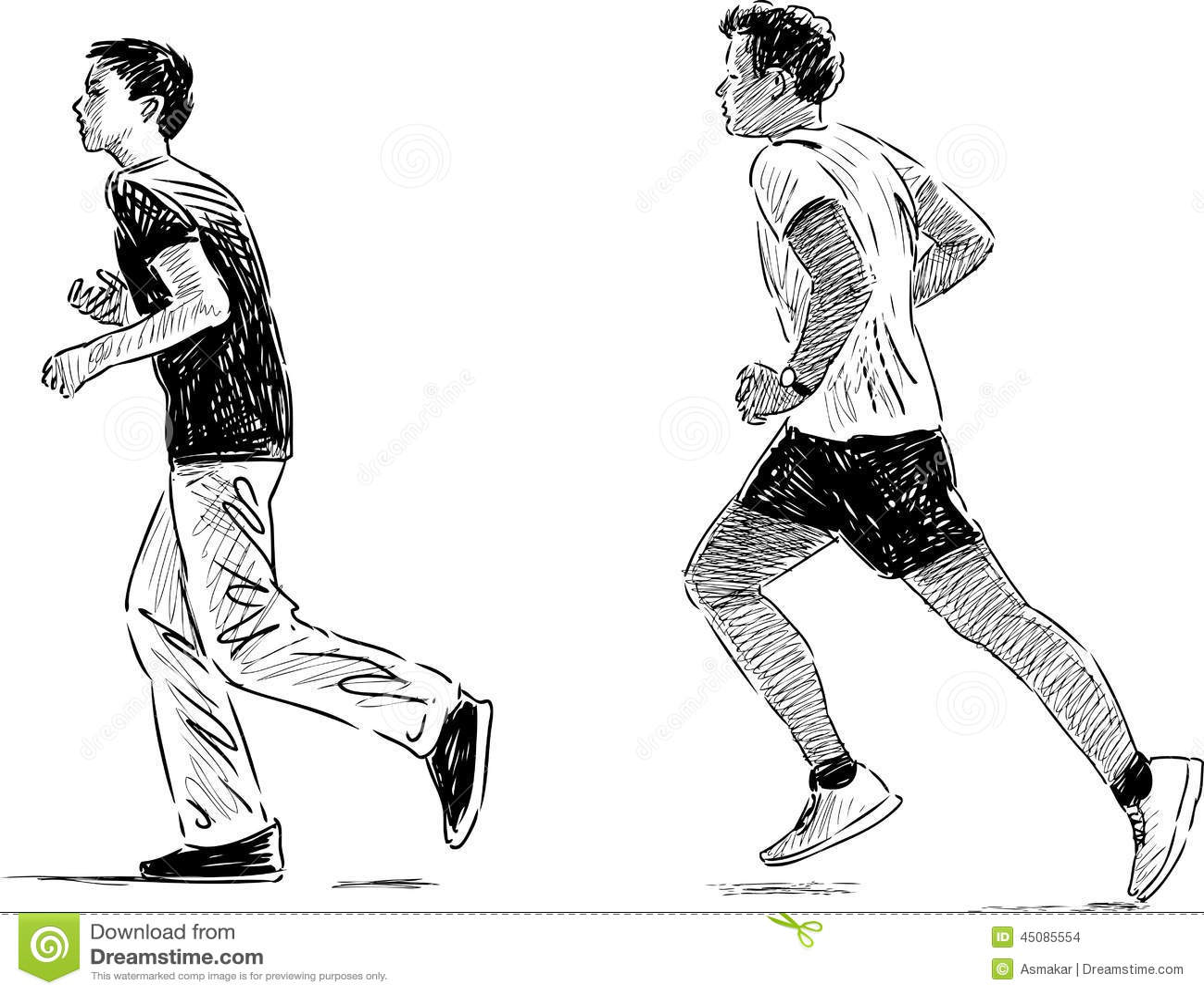 jogging boys stock vector