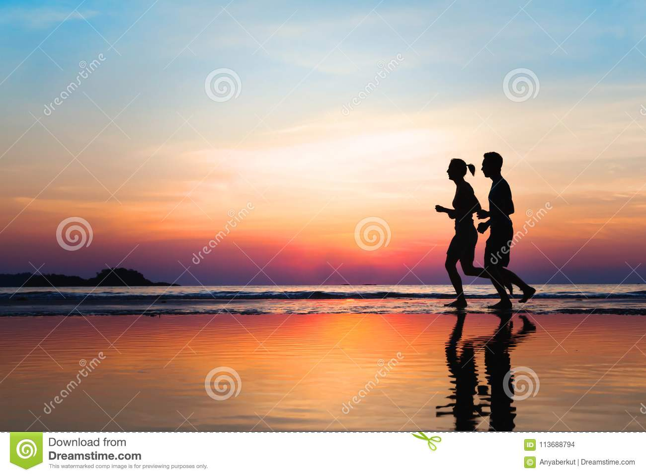 Jogging and healthy lifestyle, two runners silhouettes at sunset, workout and sport