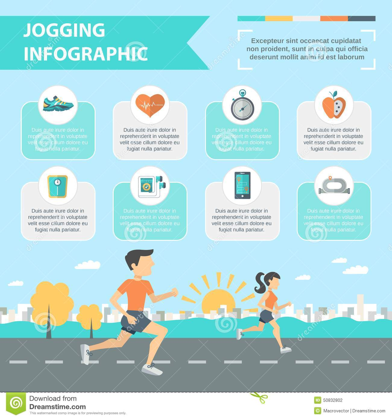 Jogging Infographics Set Stock Vector - Image: 50832802