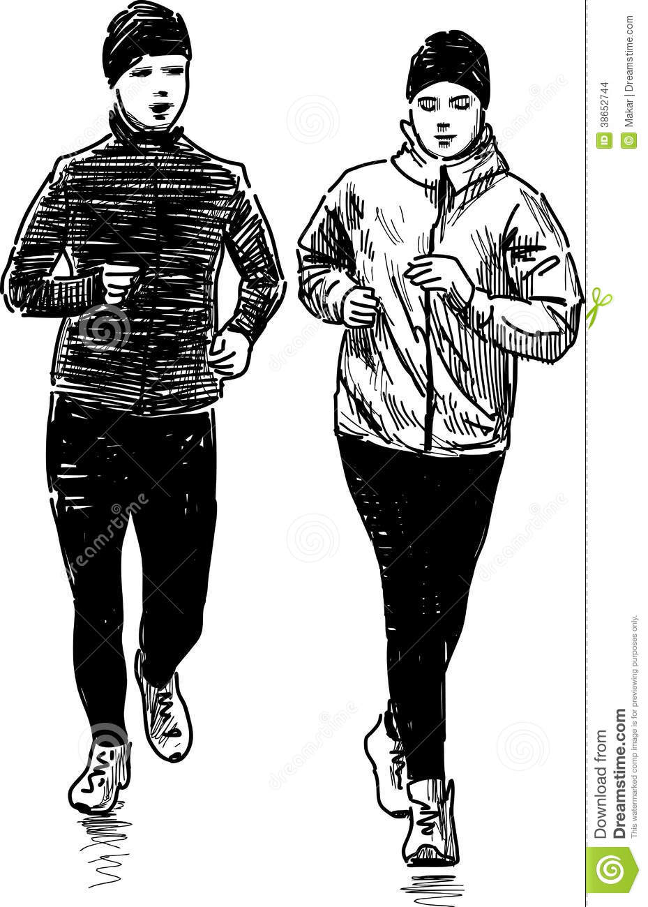 Jogging People Stock Vector Illustration Of Silhouette