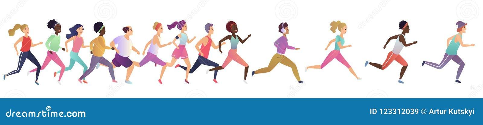 Jogging running people. Sport running group concept. People athlete maraphon runner race, various people runners.
