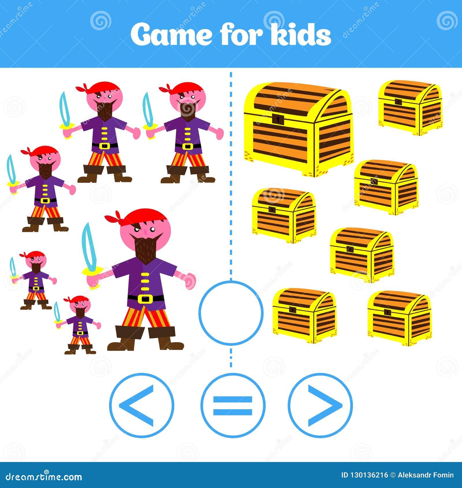 Jogo da lógica da educação para crianças prées-escolar Escolha a resposta correta Mais, menos ou ilustração igual do vetor