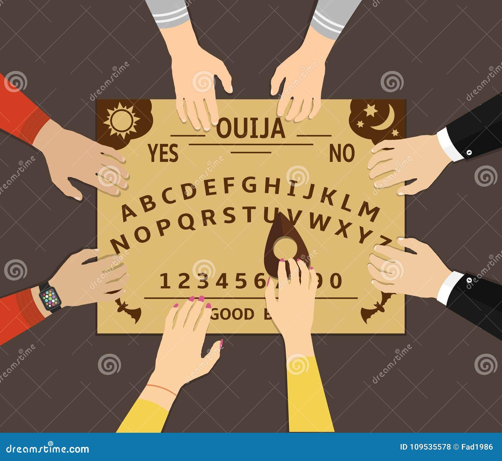 Jogo da placa de Ouija Um grupo de pessoas comunica-se com os espírito com um ouija espiritual da placa