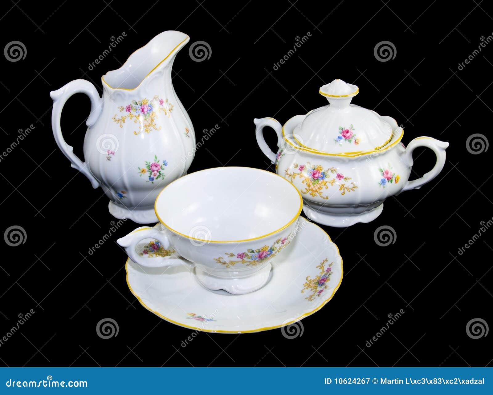Jogo da porcelana do chá
