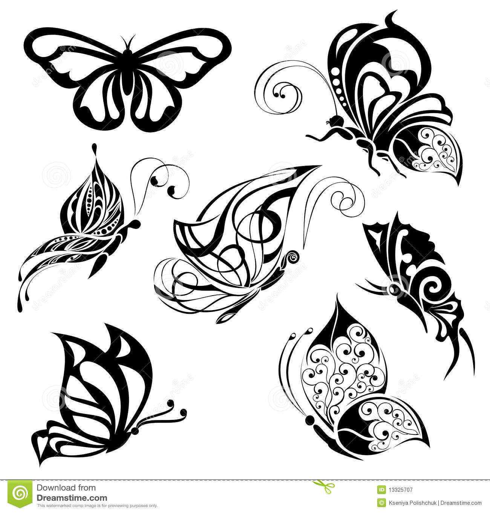 Jogo de borboletas do tatuagem
