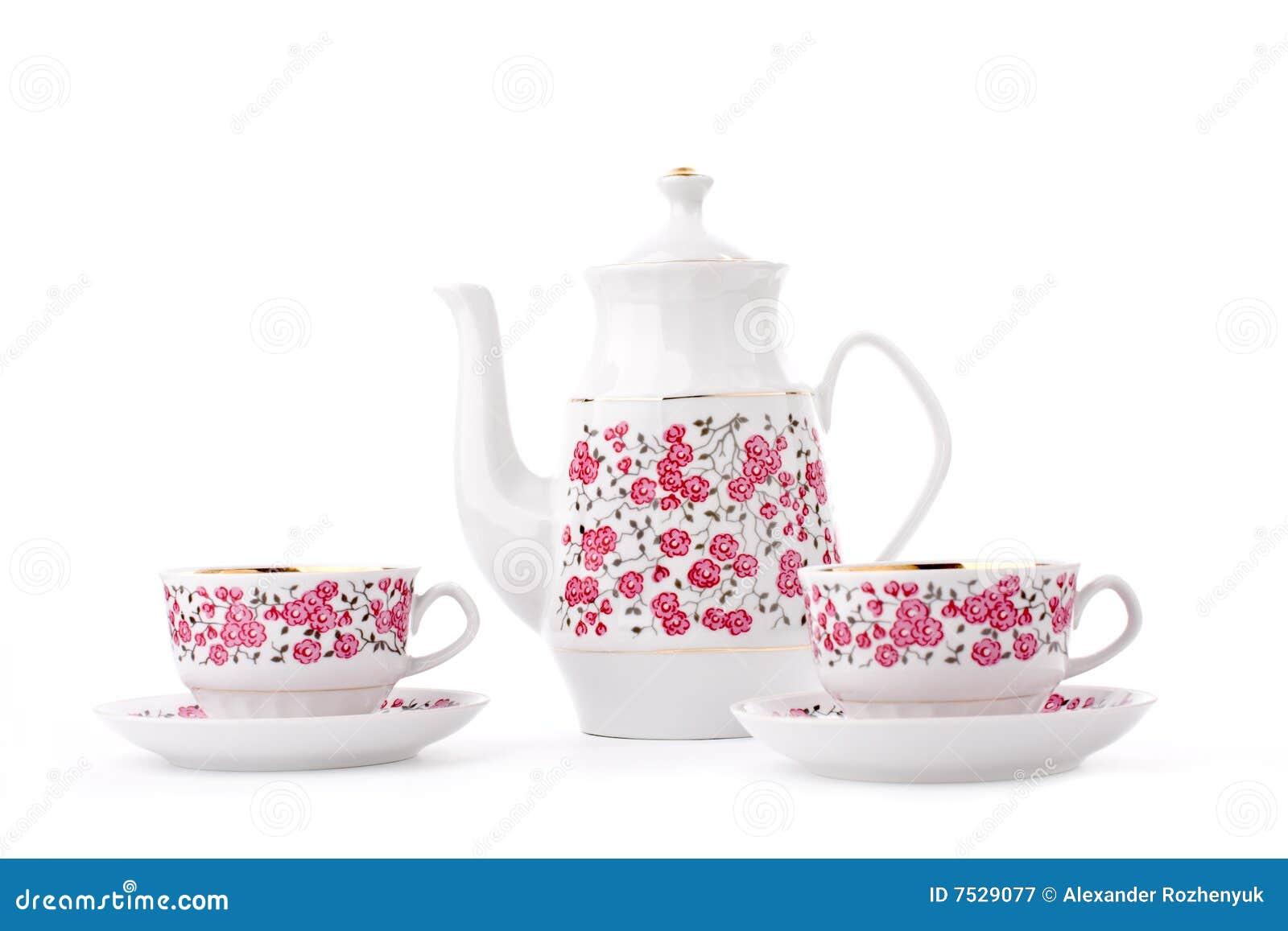 Jogo de chá elegante da porcelana