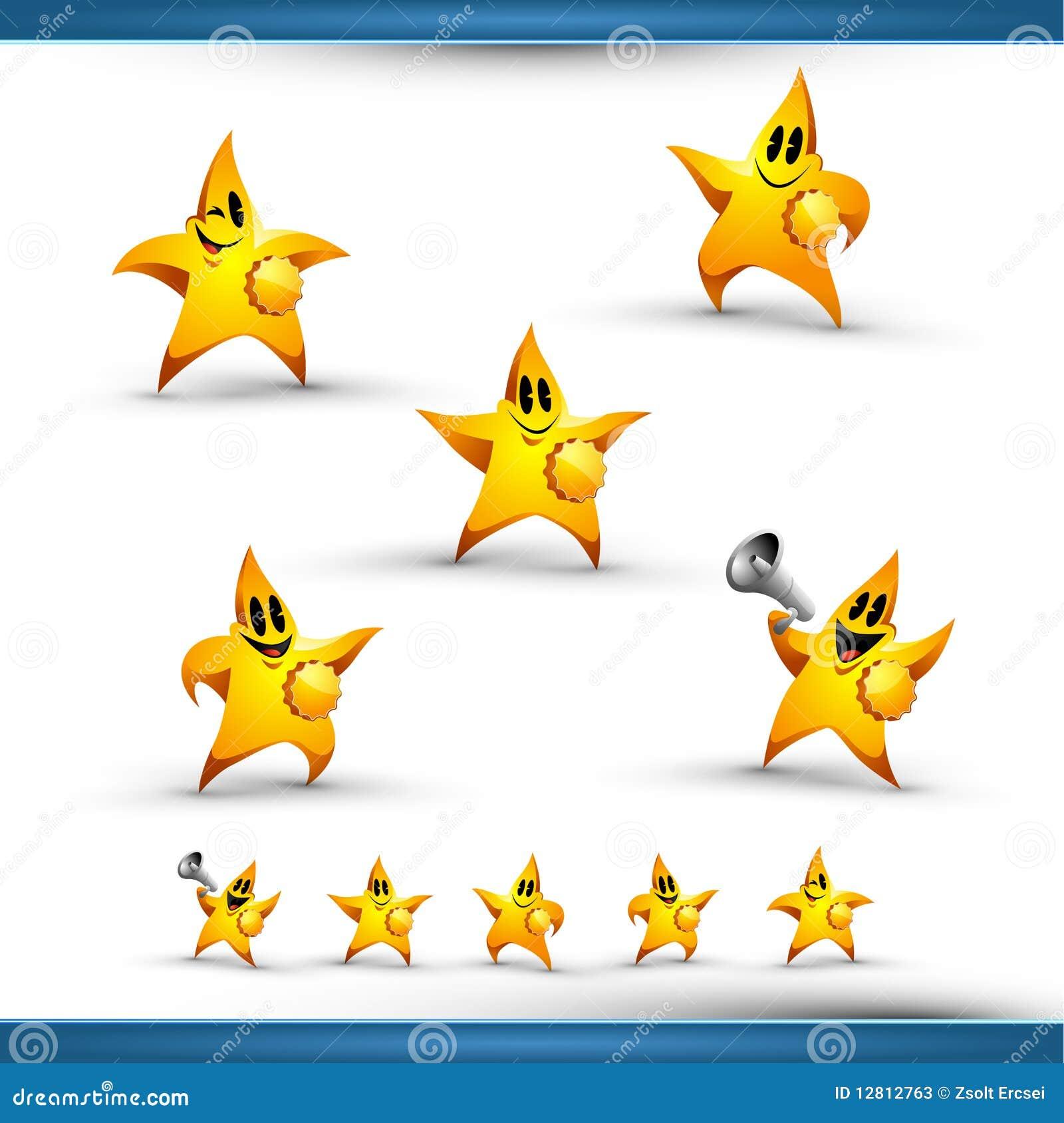 Jogo de cinco estrelas do ícone do caráter