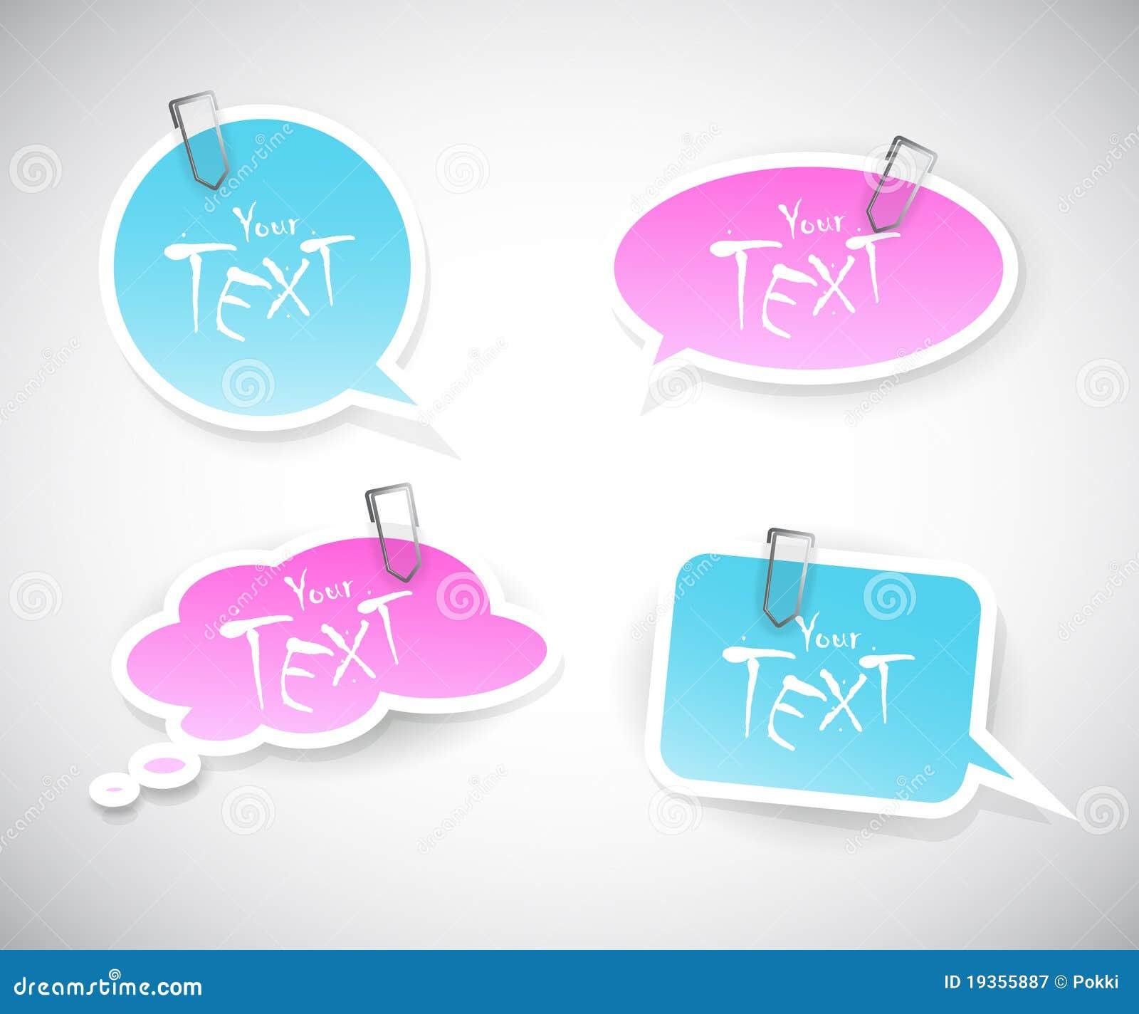 Jogo de etiquetas cor-de-rosa azuis.
