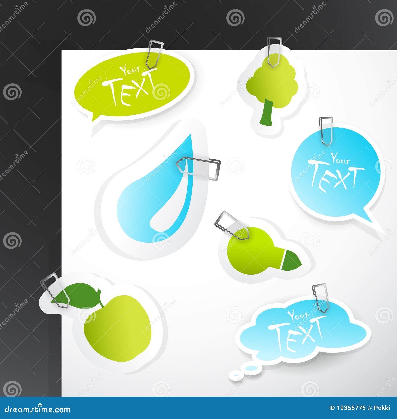 Jogo de etiquetas do verde azul.