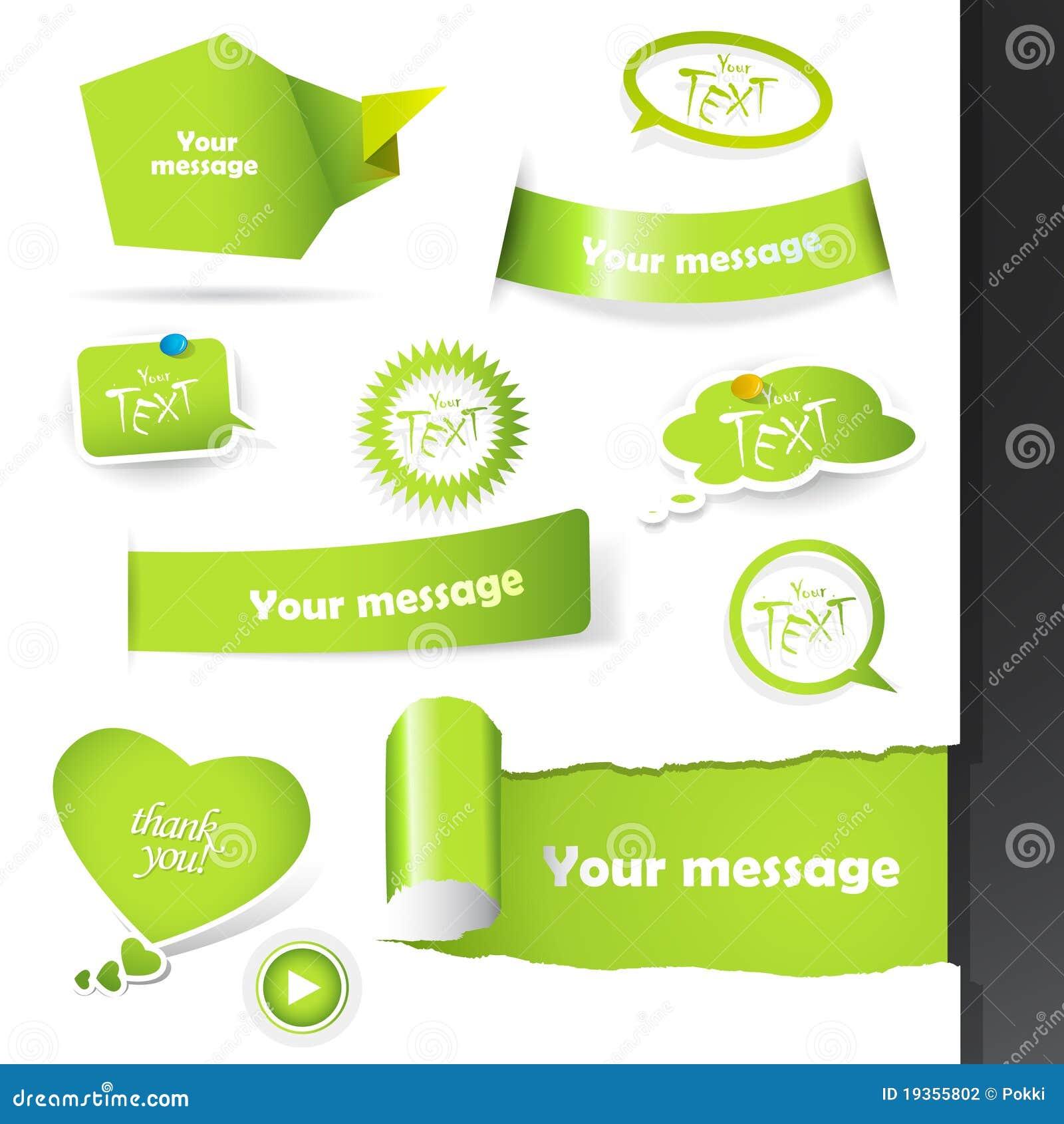 Jogo de etiquetas verdes, etiquetas.