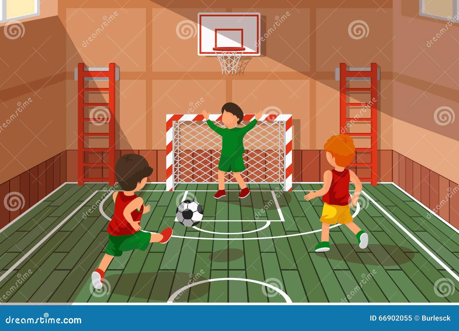 Crianças Que Jogam O Futebol Nos Desenhos Animados Do: Jogo De Futebol Da Escola Crianças Que Jogam O Futebol