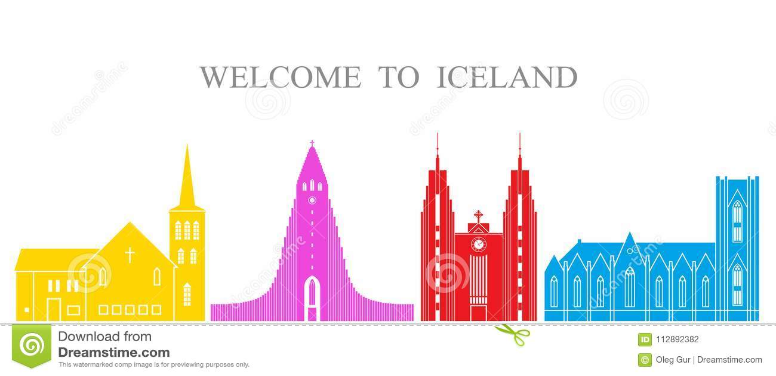Jogo de Islândia Arquitetura isolada de Islândia no fundo branco