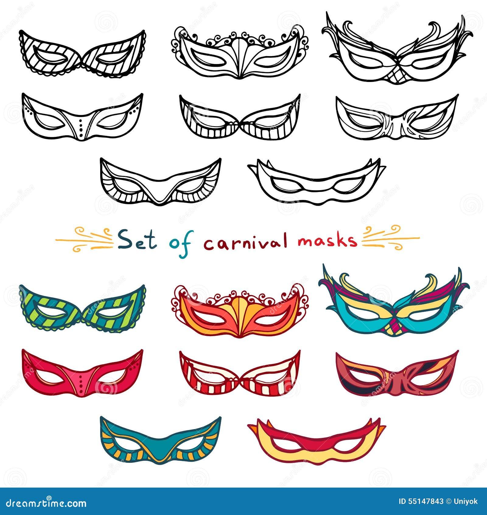Cor Carnaval E Jogo Branco Máscaras Preto Ilustração De Do hsQtCrd