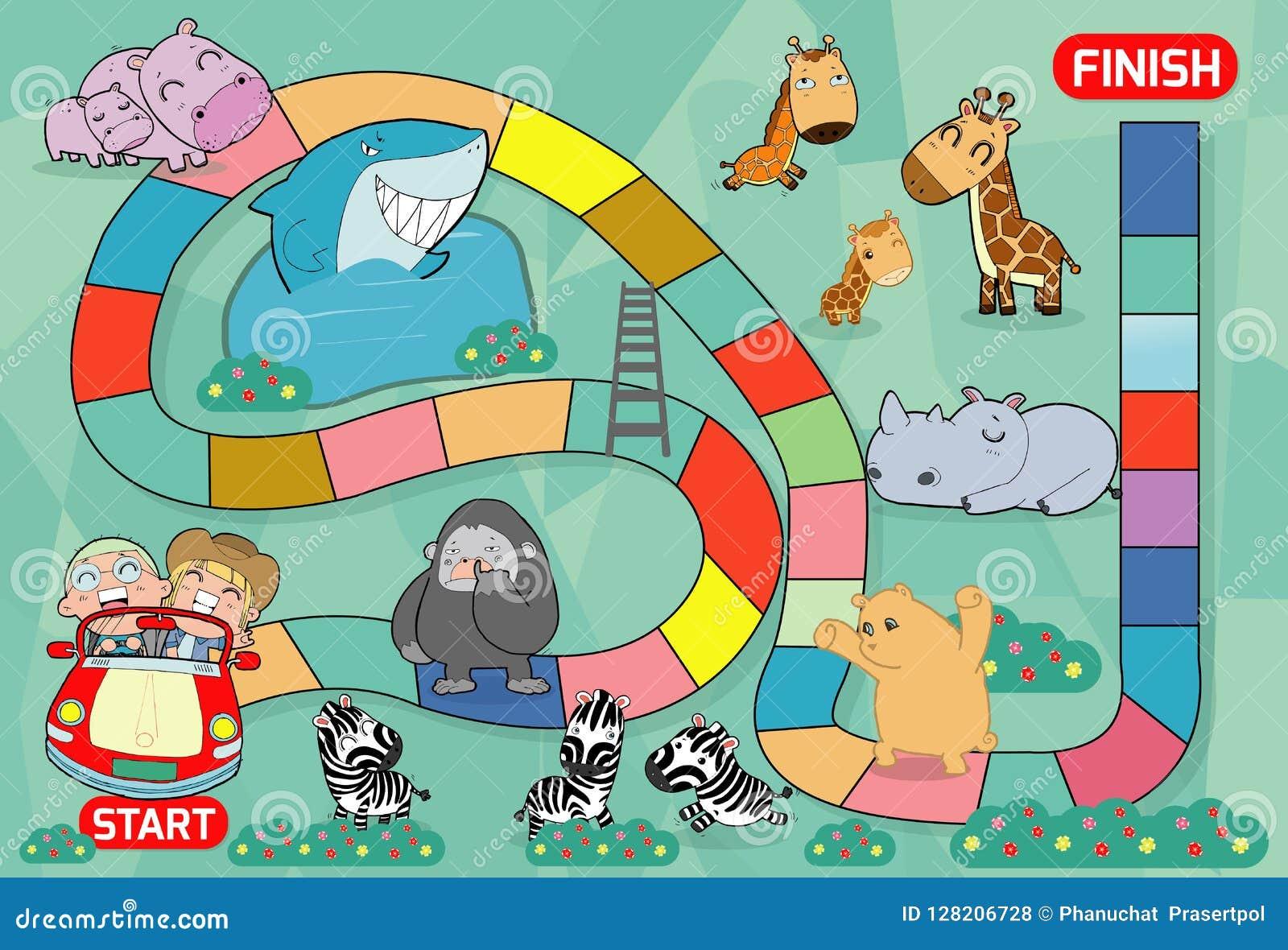 Jogo de mesa com jardim zoológico, ilustração de um jogo de mesa com fundo do jardim zoológico caçoa animais jogo de mesa do jard