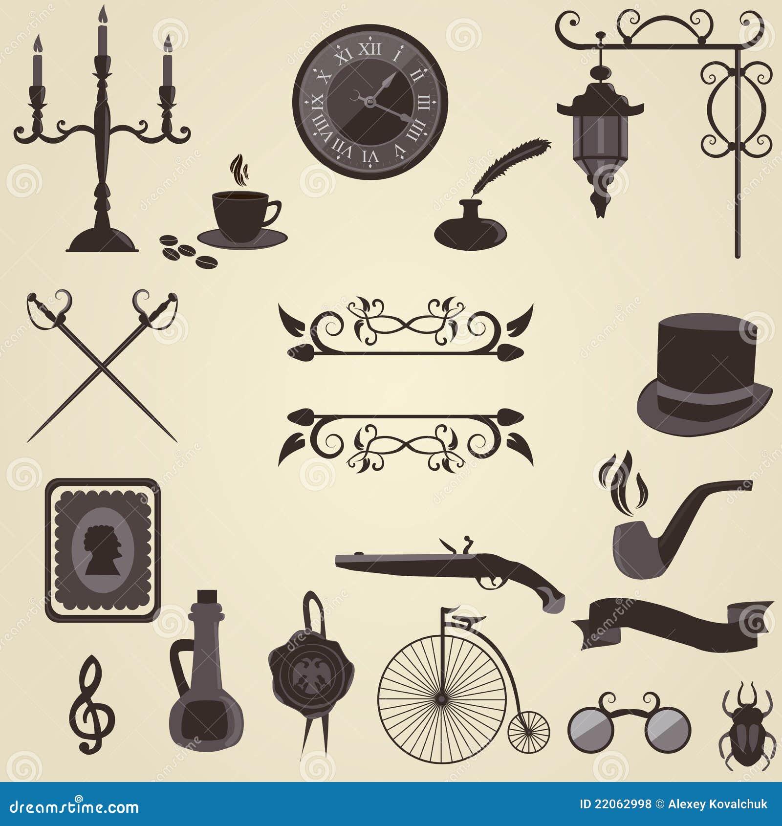 Jogo de objetos do vintage ilustra o do vetor imagem de - Objetos vintage ...