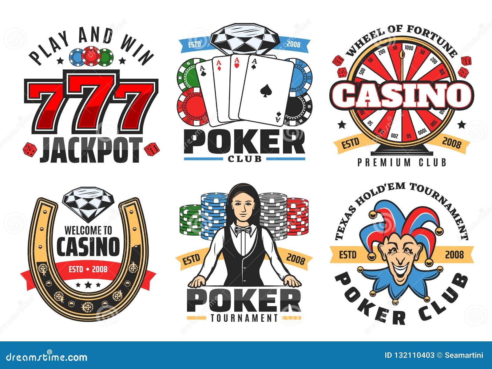 Jogo de pôquer do casino, ícones de jogo do vetor do jackpot