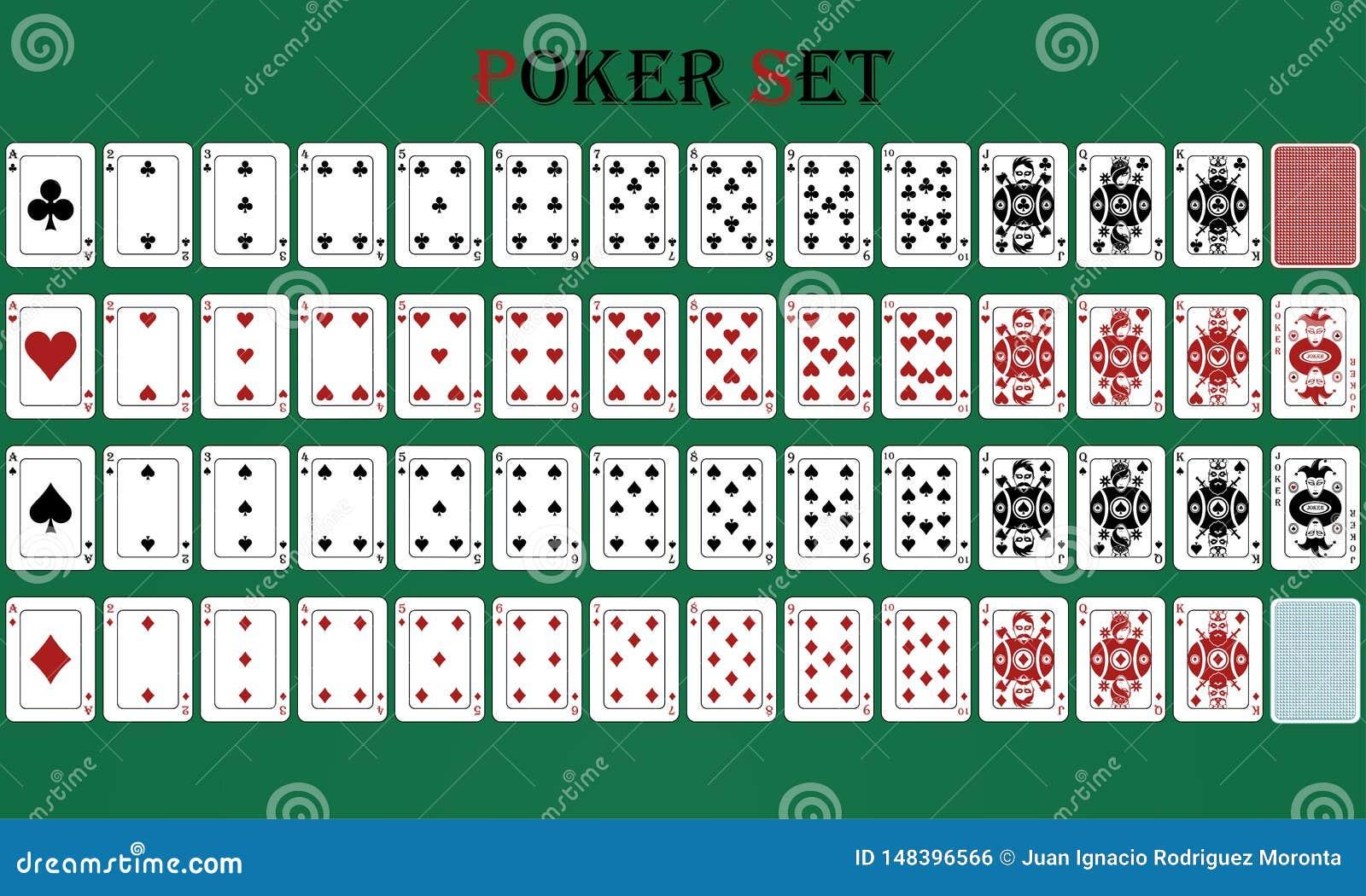 Jogo de pôquer isolado do cartão com reverso, em um fundo verde