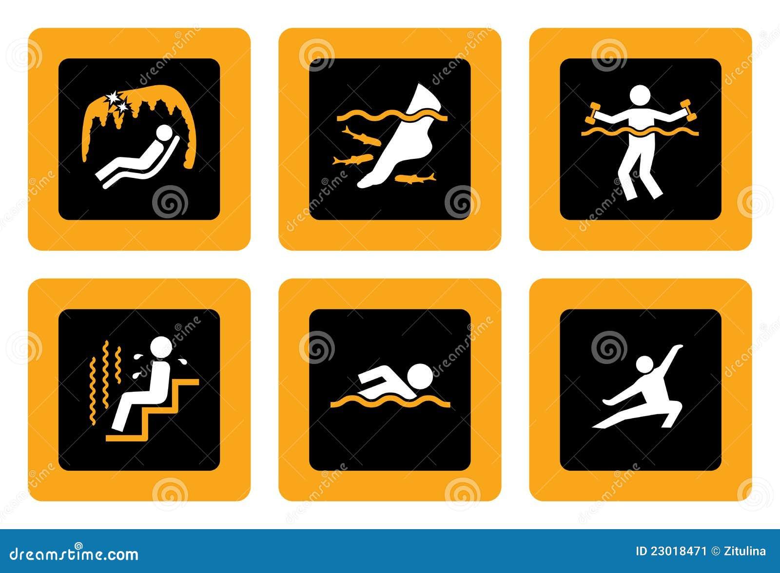 Jogo de pictograma de Spa&Wellness no preto II