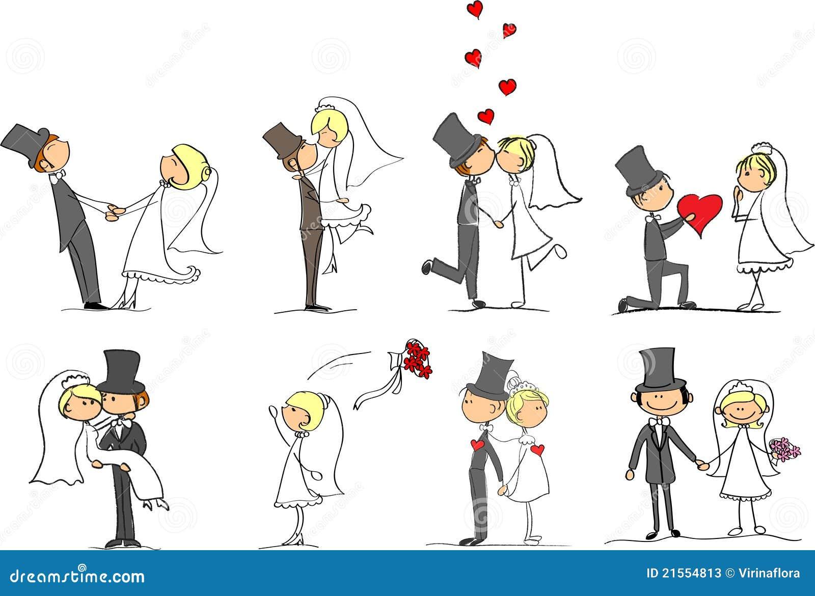 Jogo de retratos do casamento