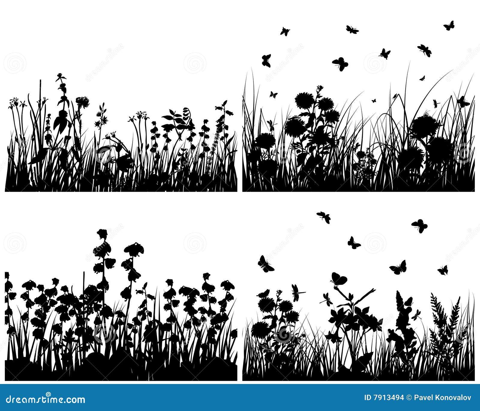 Jogo de silhuetas da grama