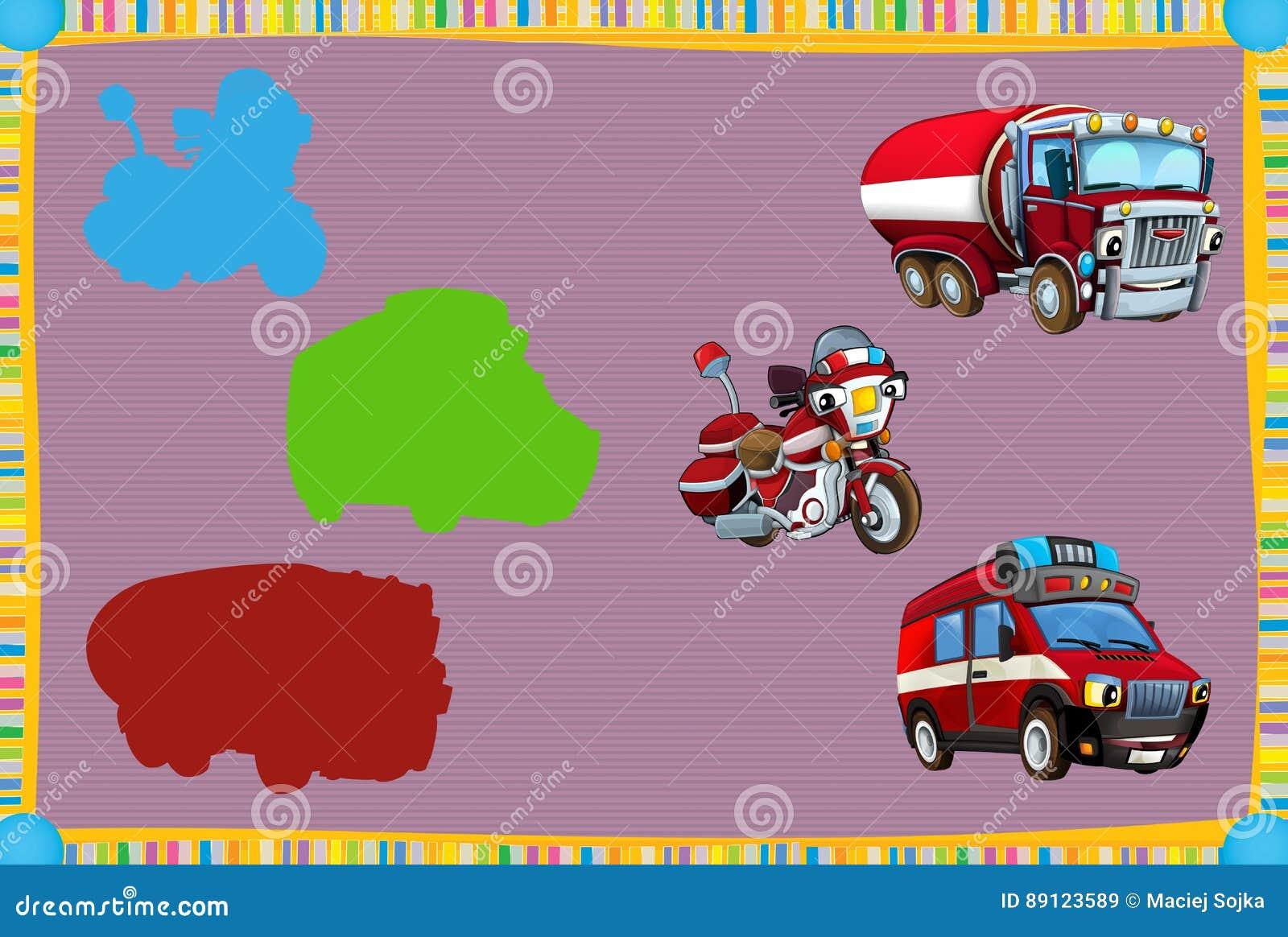 Jogo de suposição dos desenhos animados para crianças com os veículos coloridos do bombeiro que conectam pares