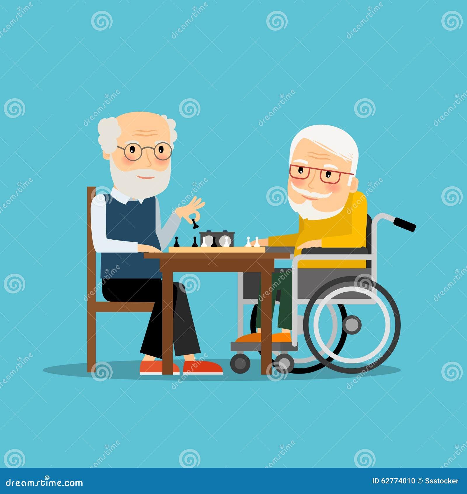 Jogo de xadrez Dois anciões que jogam a xadrez