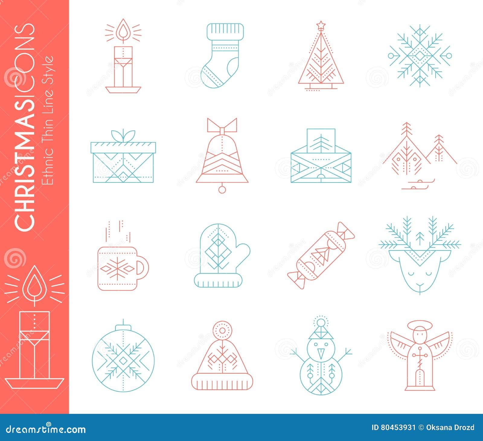 Jogo do ícone do Natal Coleção da linha criativa elementos do projeto do estilo