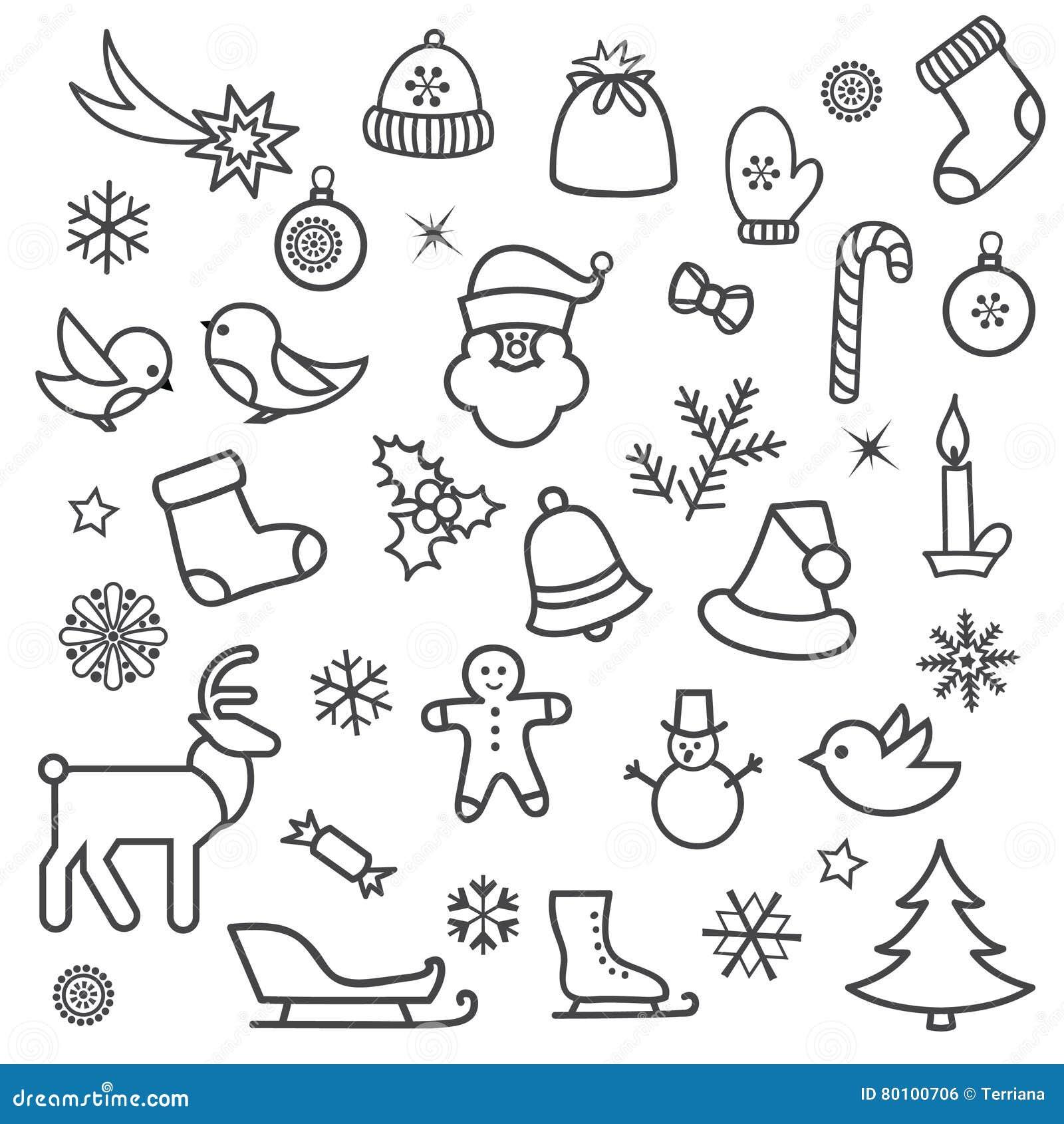 Jogo do ícone do Natal Projeto decorativo e do feriado do Natal da garatuja