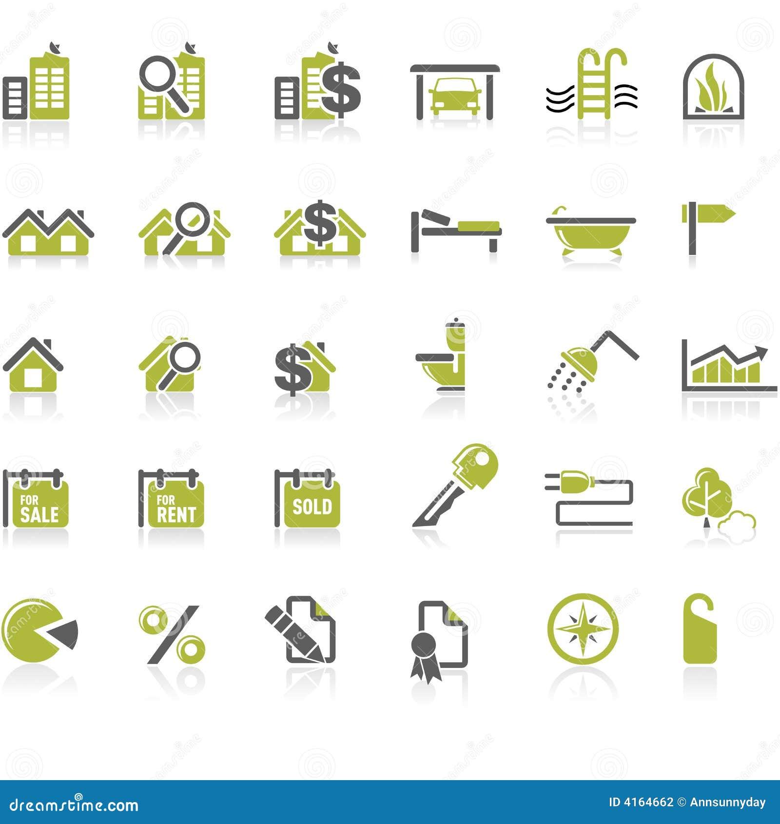 Jogo do ícone dos bens imobiliários