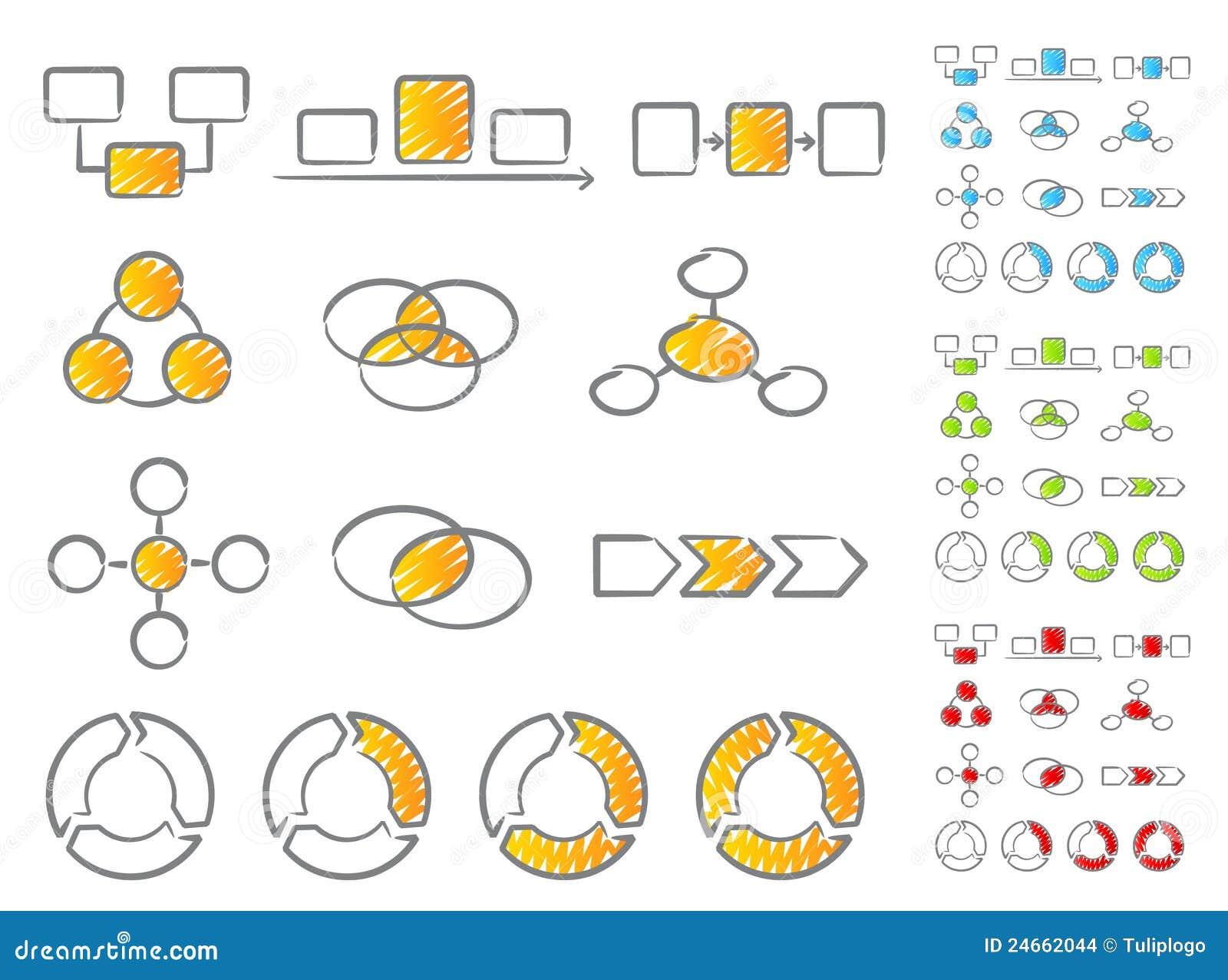 Jogo do ícone dos diagramas