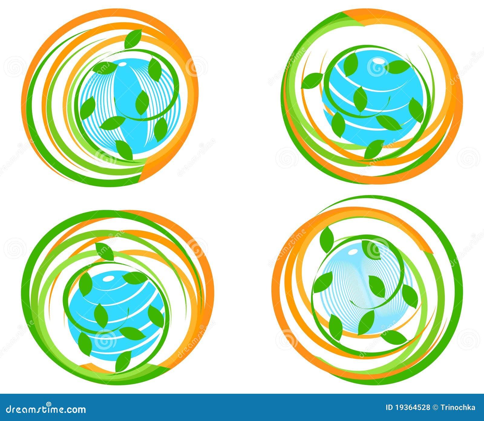 Jogo do ícones verdes com planeta.