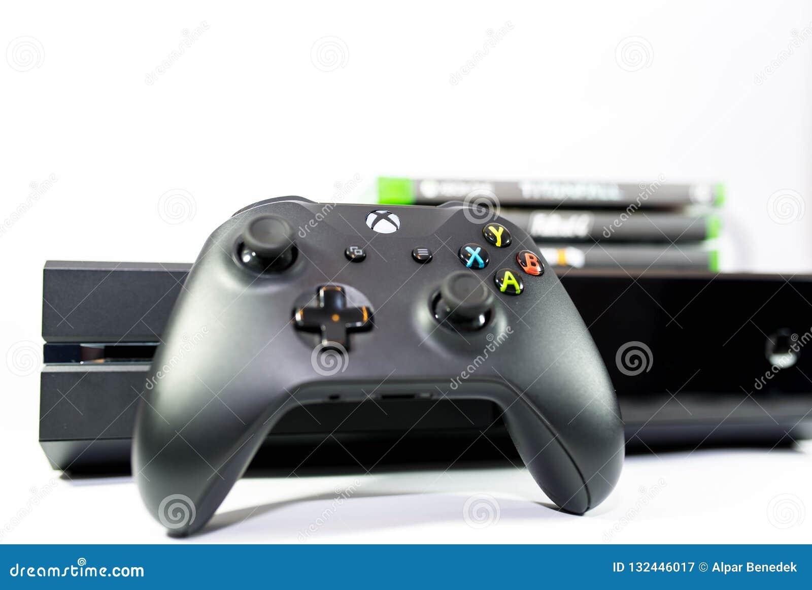 Jogo do jogo de vídeo do Xbox One, foco no logotipo, profundidade de campo rasa