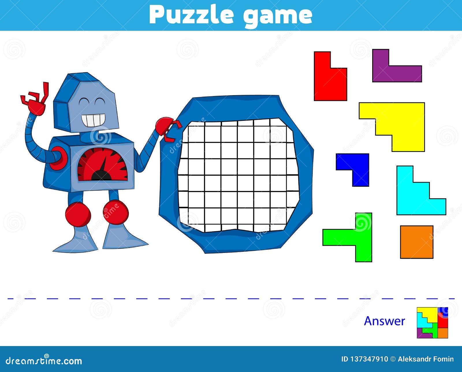 Jogo do enigma completo o teste padrão Jogo da lógica da educação para crianças prées-escolar Ilustração do vetor