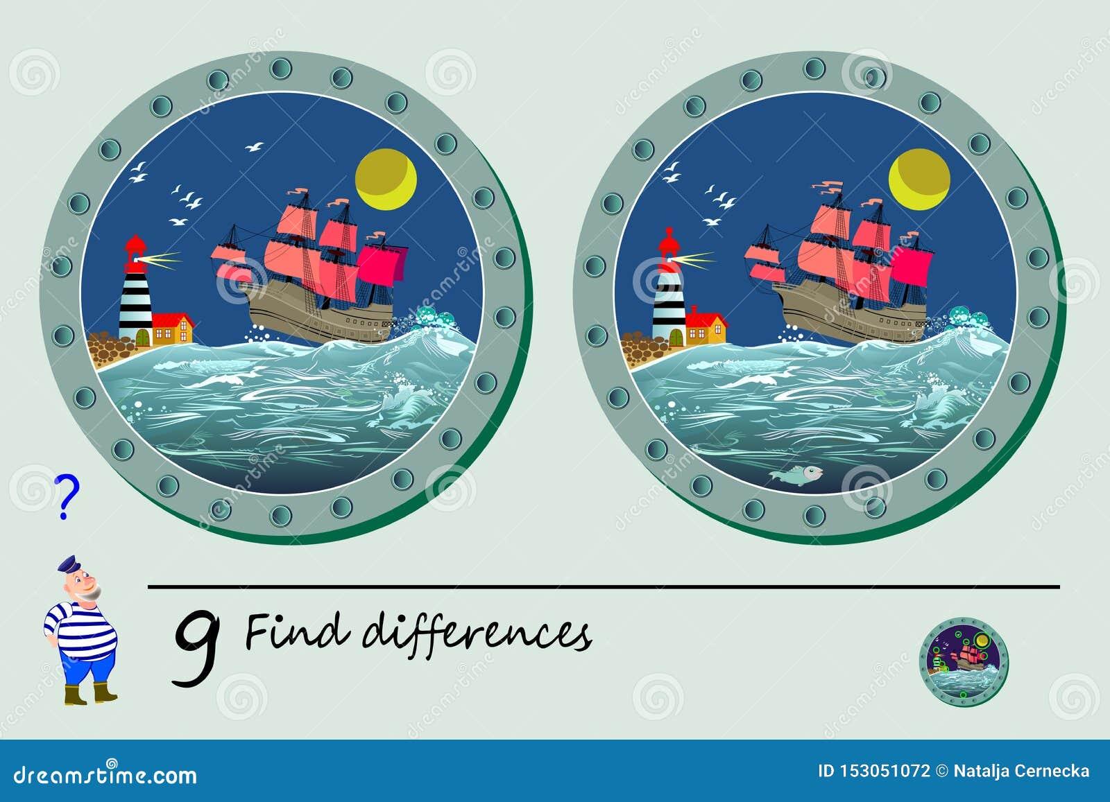 Jogo do enigma da l?gica para crian?as Necessidade de encontrar 9 diferen?as Página imprimível para o livro do quebra-cabeça das