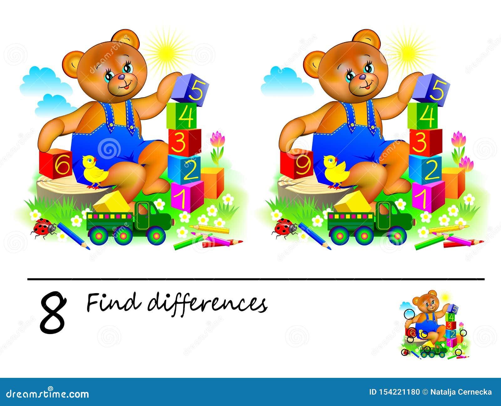 Jogo do enigma da l?gica para crian?as Necessidade de encontrar 8 diferen?as Página imprimível para o livro do quebra-cabeça das