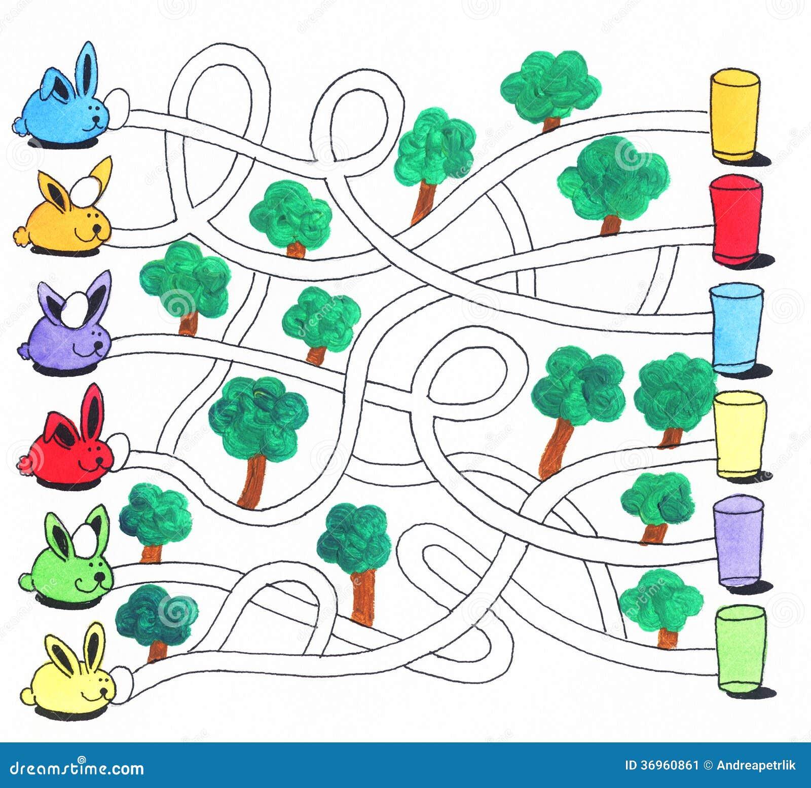 Jogo do labirinto da Páscoa ou página da atividade para crianças: Coelhos e ovos