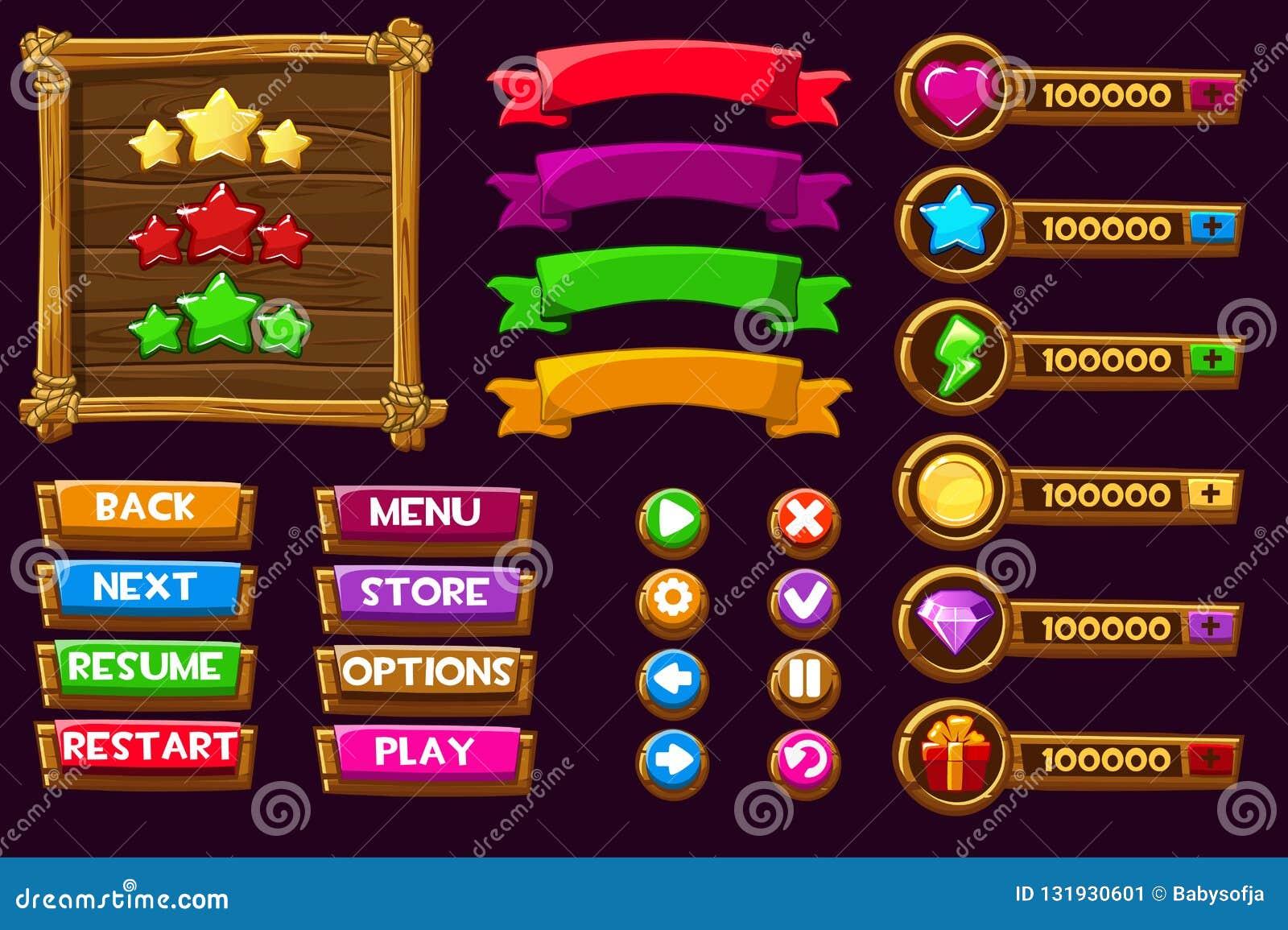 Jogo do ui do jogo do vetor Termine o menu do GUI gráfico da interface de utilizador para construir 2D jogos Pode ser usado em jo