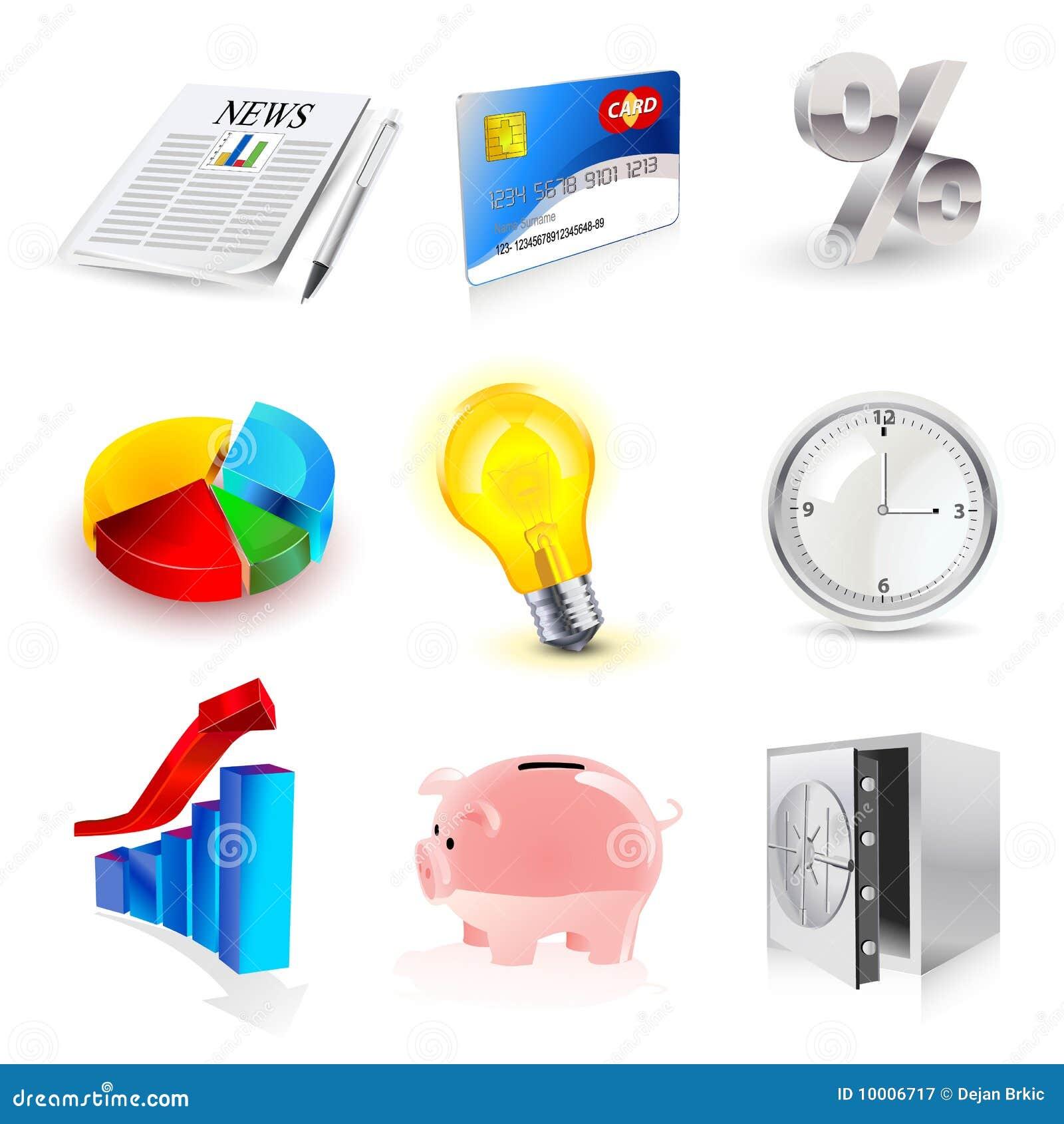 Jogo do vetor de ícones da finança 3d