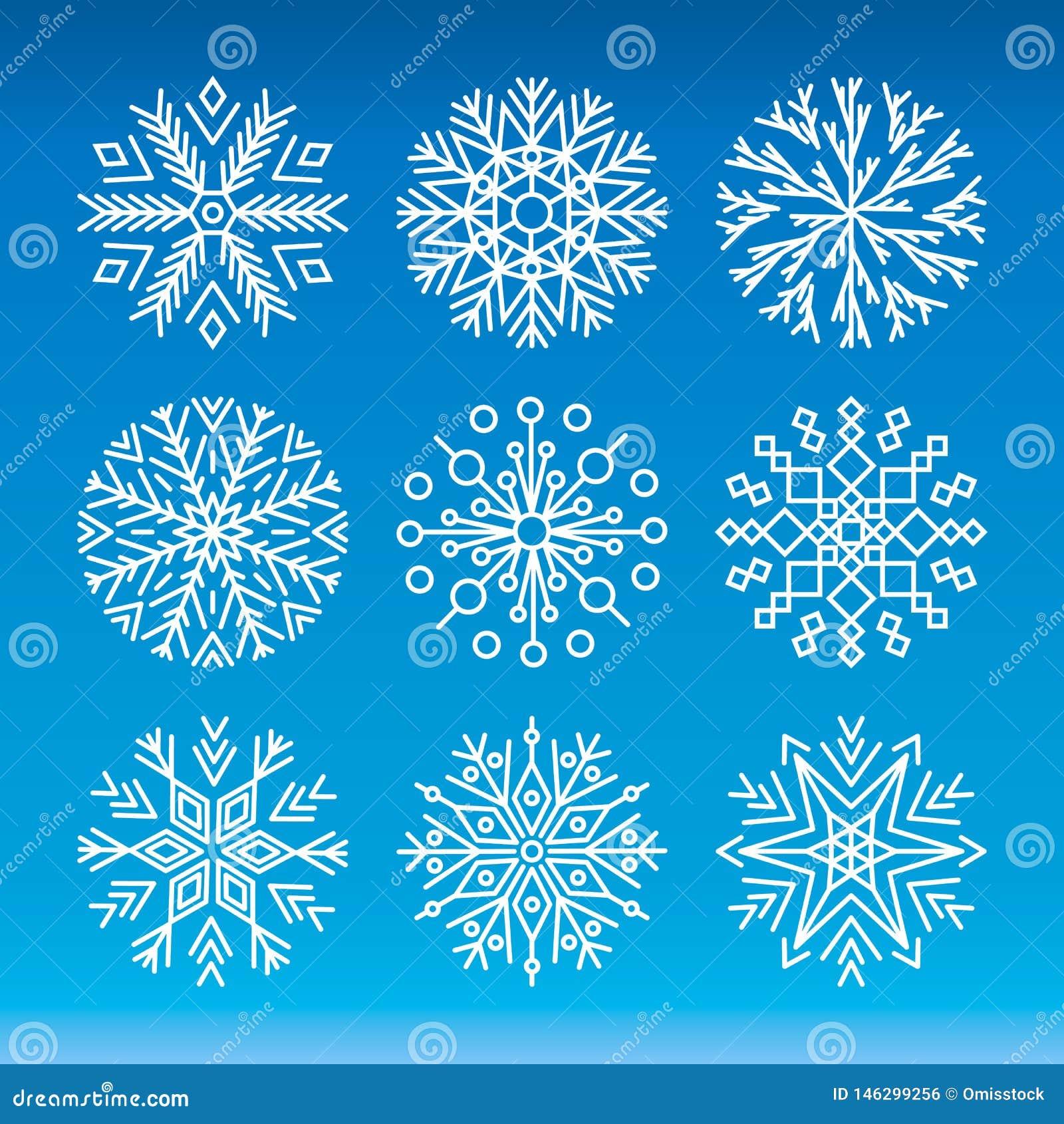 Jogo do vetor dos flocos de neve