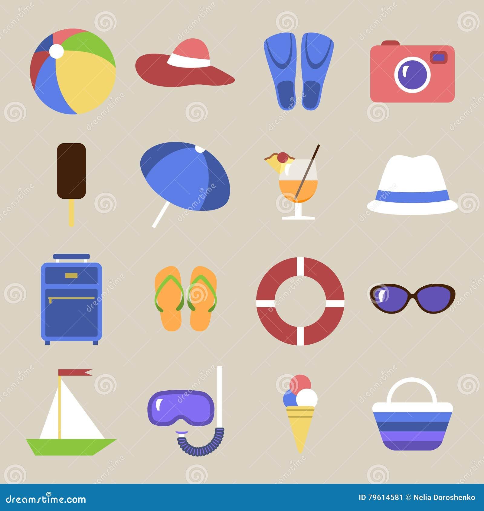 Jogo dos ícones Tema da praia Objetos lisos do curso