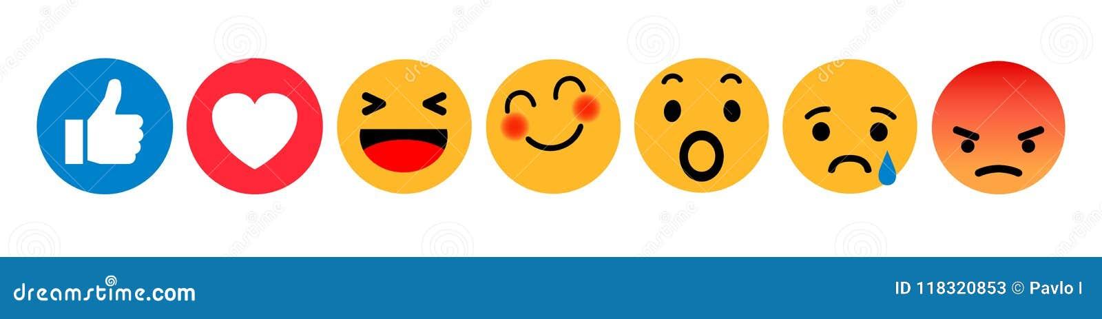 Jogo dos emoticons Ícone social das reações da rede de Emoji Os smilies amarelos, ajustaram a emoção do smiley, por smilies, emot
