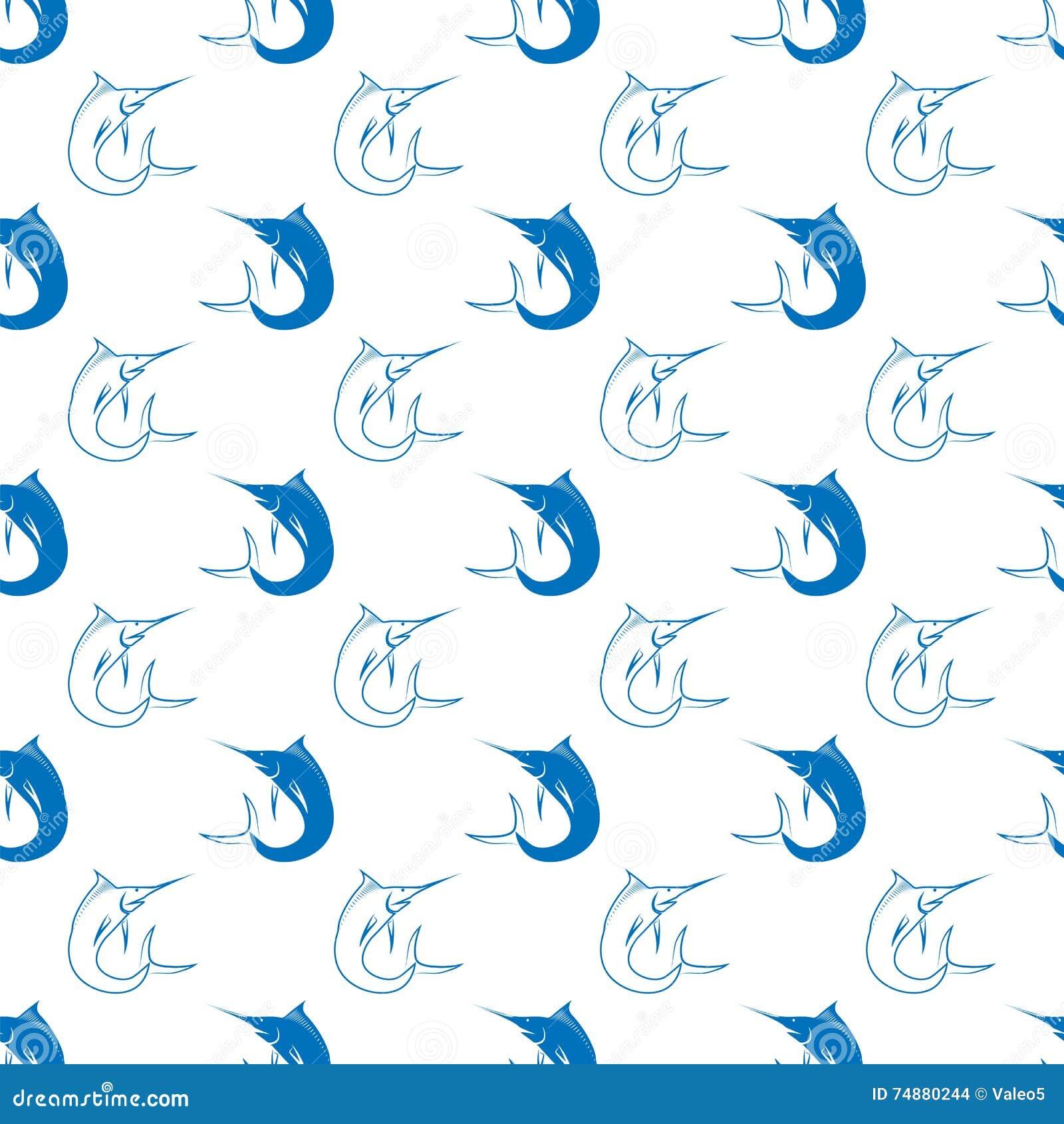 Jogo dos peixes Marlin Seamless Pattern
