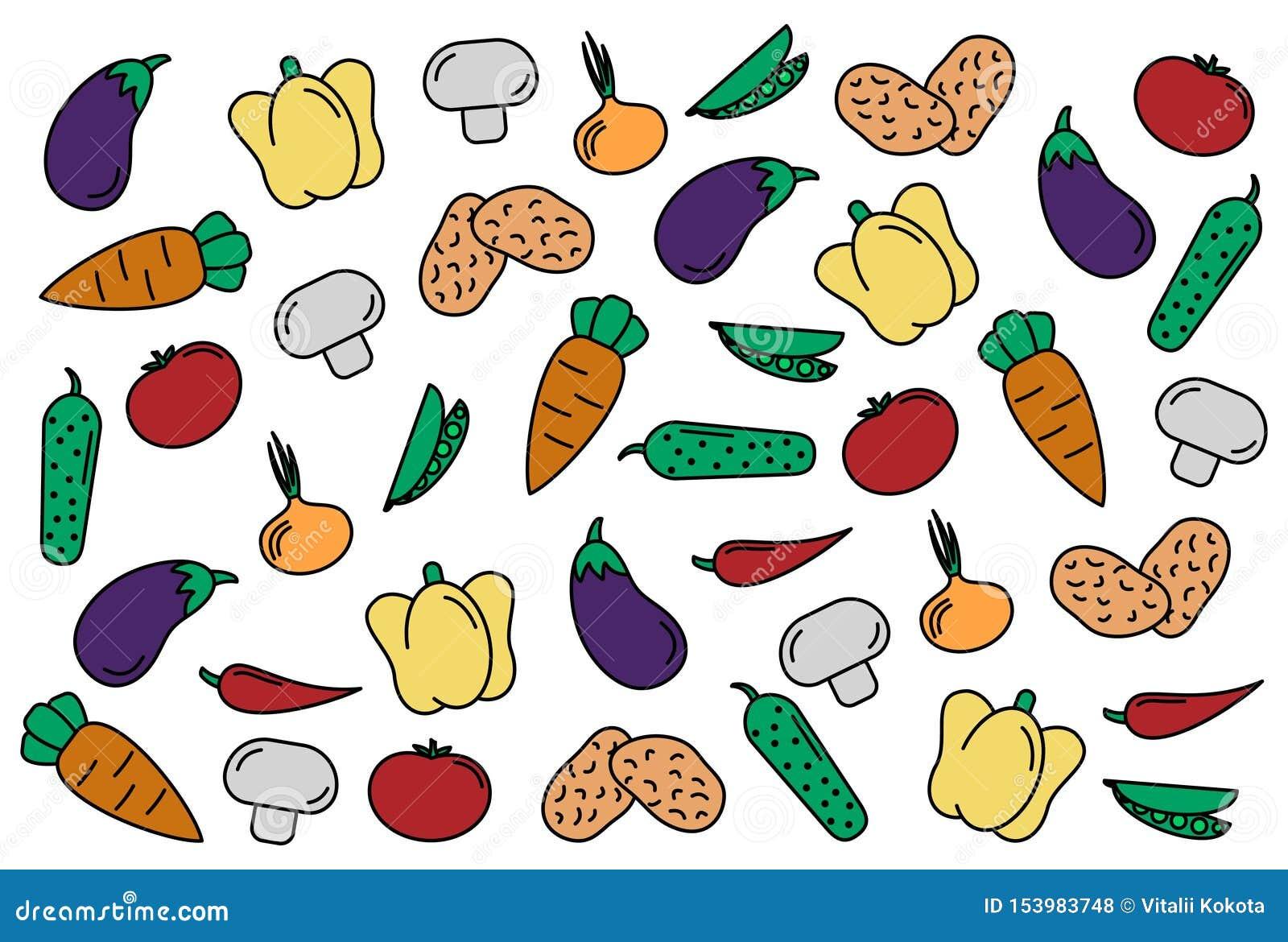 Jogo dos vegetais abstraia o fundo ajuste dos vegetais dos ícones do vetor tomate, pepino, cenoura, pimentas, beringela, ervilha,